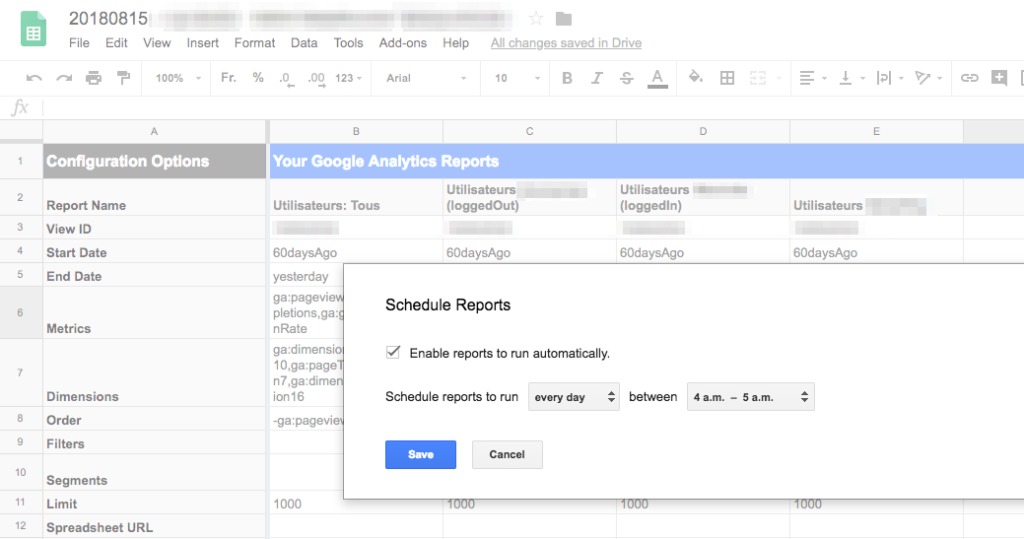 GDS - Exemple d'usage avec l'extension Google Analytics Spreadsheet